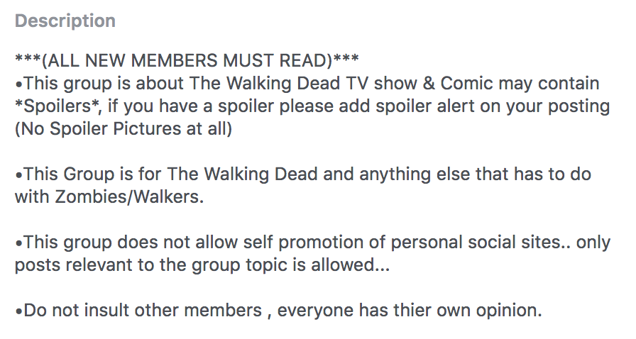 Walking Dead facebook group