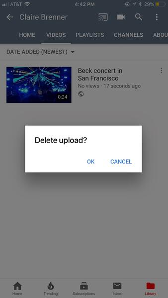 youtube how to delete a video on mobile step 6