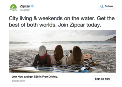 Zipcar beach image tweet