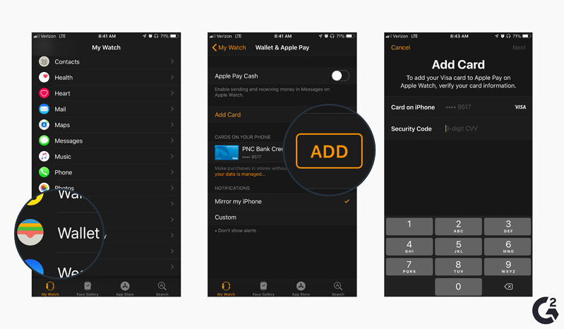 Screenshots of how to add a card to Apple Watch