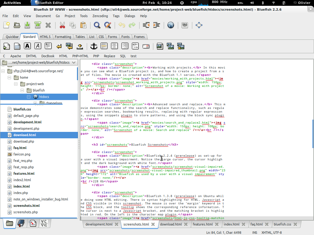 Bluefish free text editor