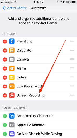 Screen Recording in iPhone Settings