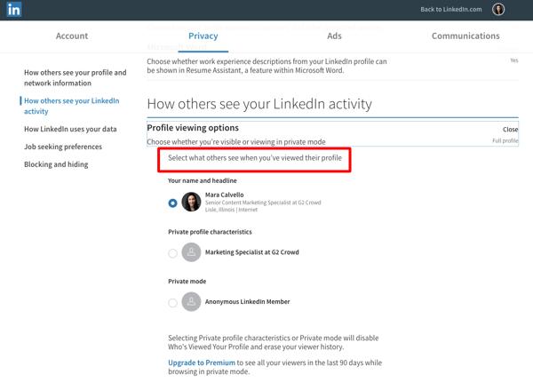 Choose LinkedIn Viewing Options