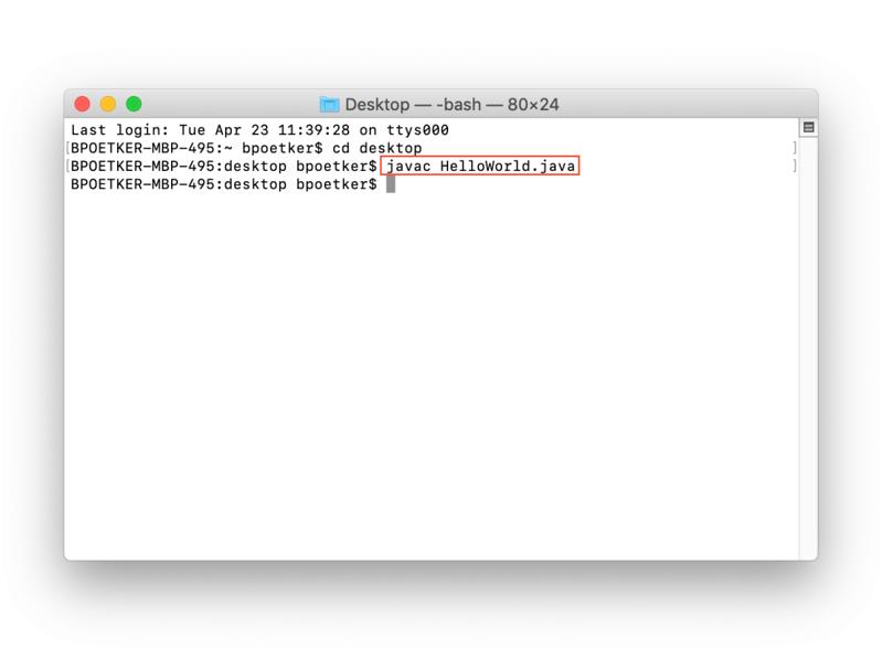 Compilation Java avec javac dans Terminal