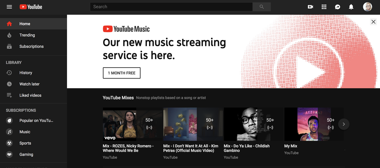 youtube dark mode screen