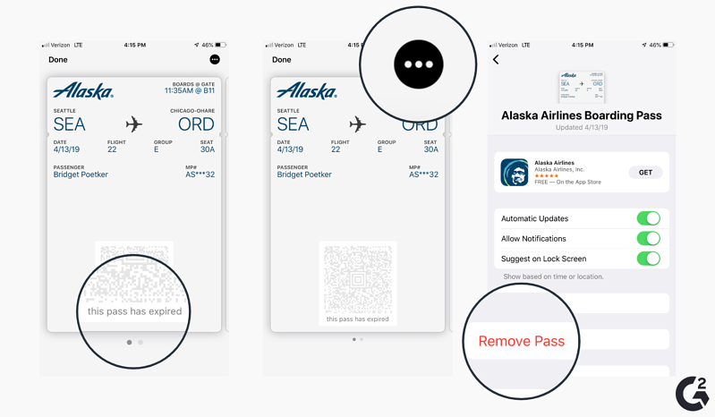 Screenshots of how to delete cards in Apple Wallet