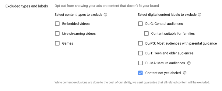 excluded labels on youtube ads