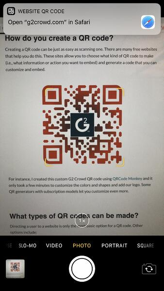 scan qr code on iphone