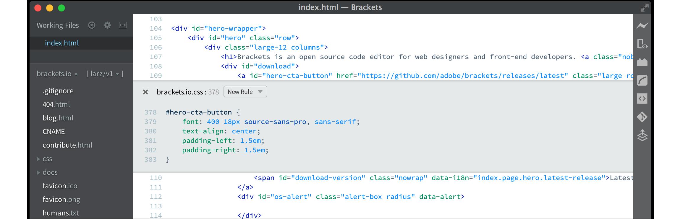 Brackets free text editor