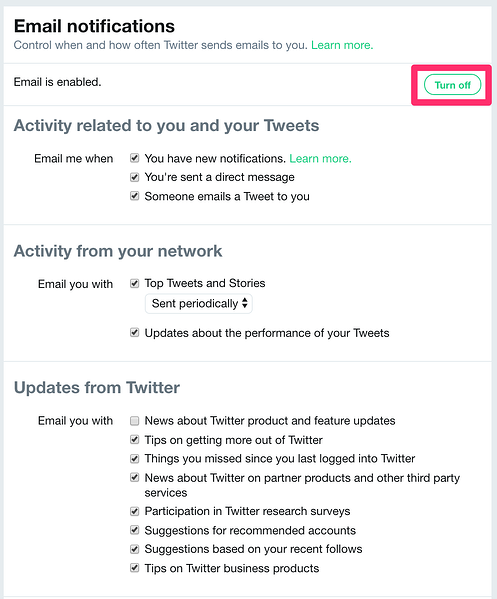 how to stop twitter emails turn off or enable