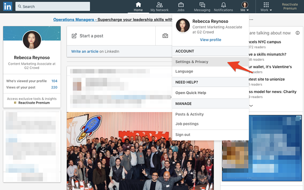 Settings & Privacy tab on LinkedIn