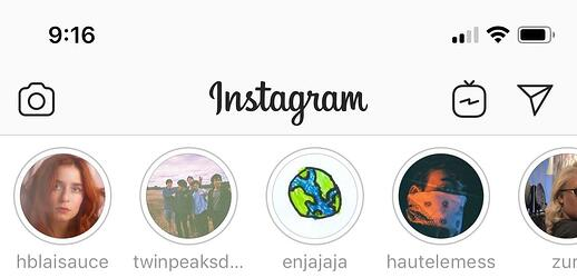 instagram stories bar