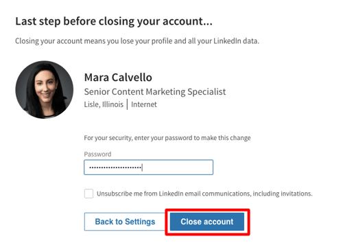 Close LinkedIn Account