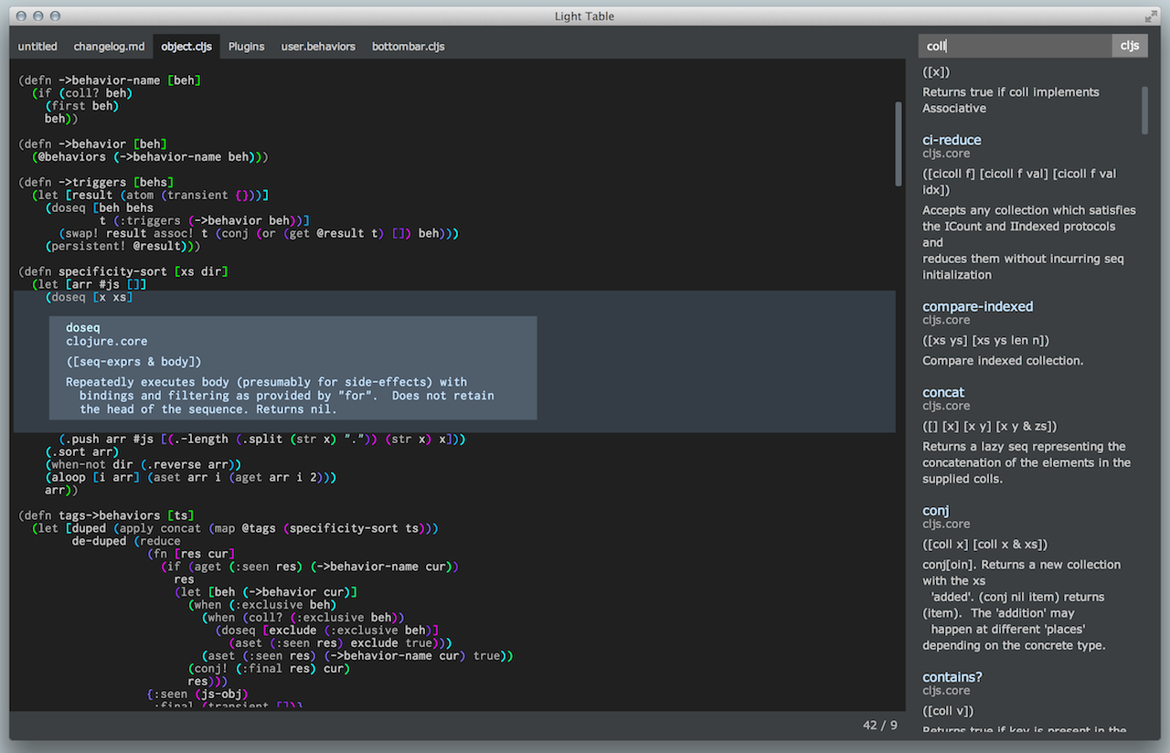 light table free text editor