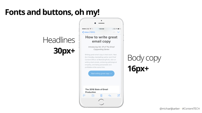 optimal email copy size
