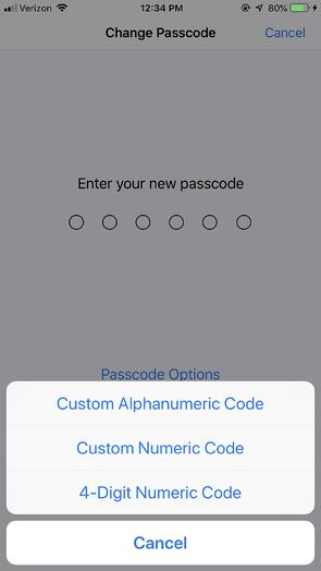 iPhone Passcode Type Options