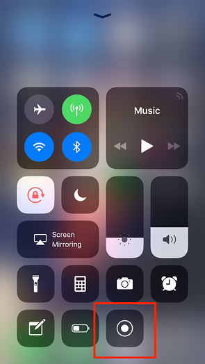 Screen Record from iPhone Control Center
