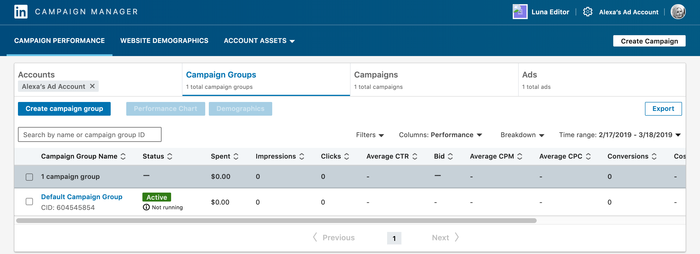 screenshot of the campaign performance tab, a look into how your ad is performing