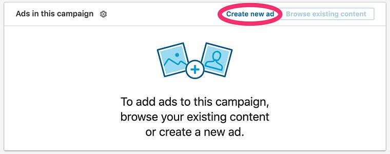 screenshot of the create a new ad section