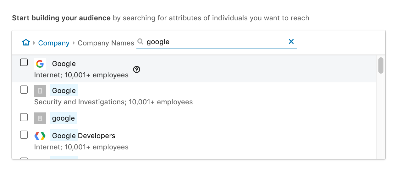 screenshot of the linkedin campaign manager, focusing on targeting employees at google