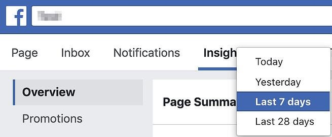 page summary tab in facebook insights showing the option to select today yesterday last 7 days or last 28 days