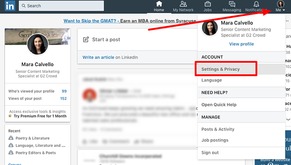 LinkedIn Settings and Privacy