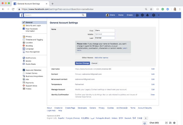 Step 3 enter your desired Facebook name and press review change