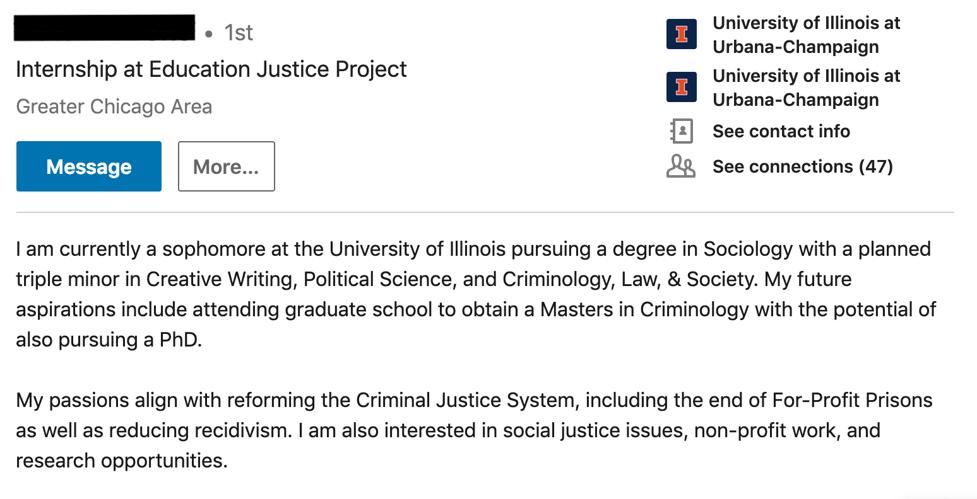 Student LinkedIn Summary
