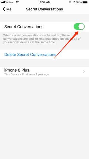 Turn Secret Conversations On