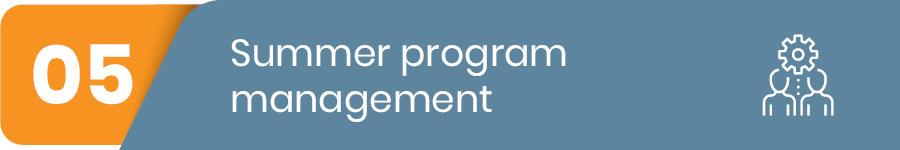 summer program management