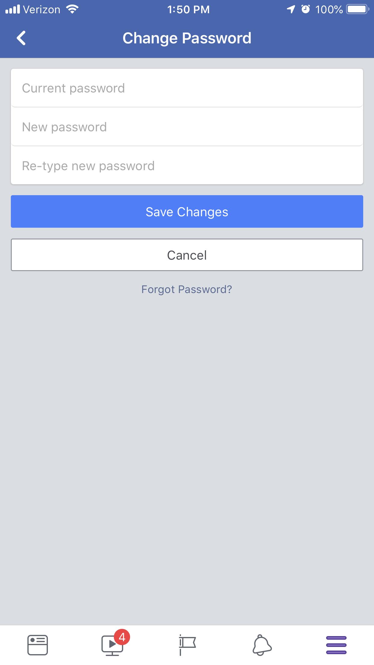 change facebook password step 7