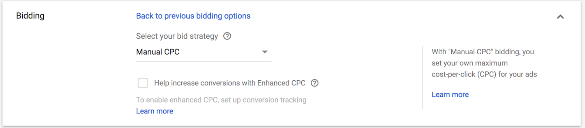 adwords cpc bidding options