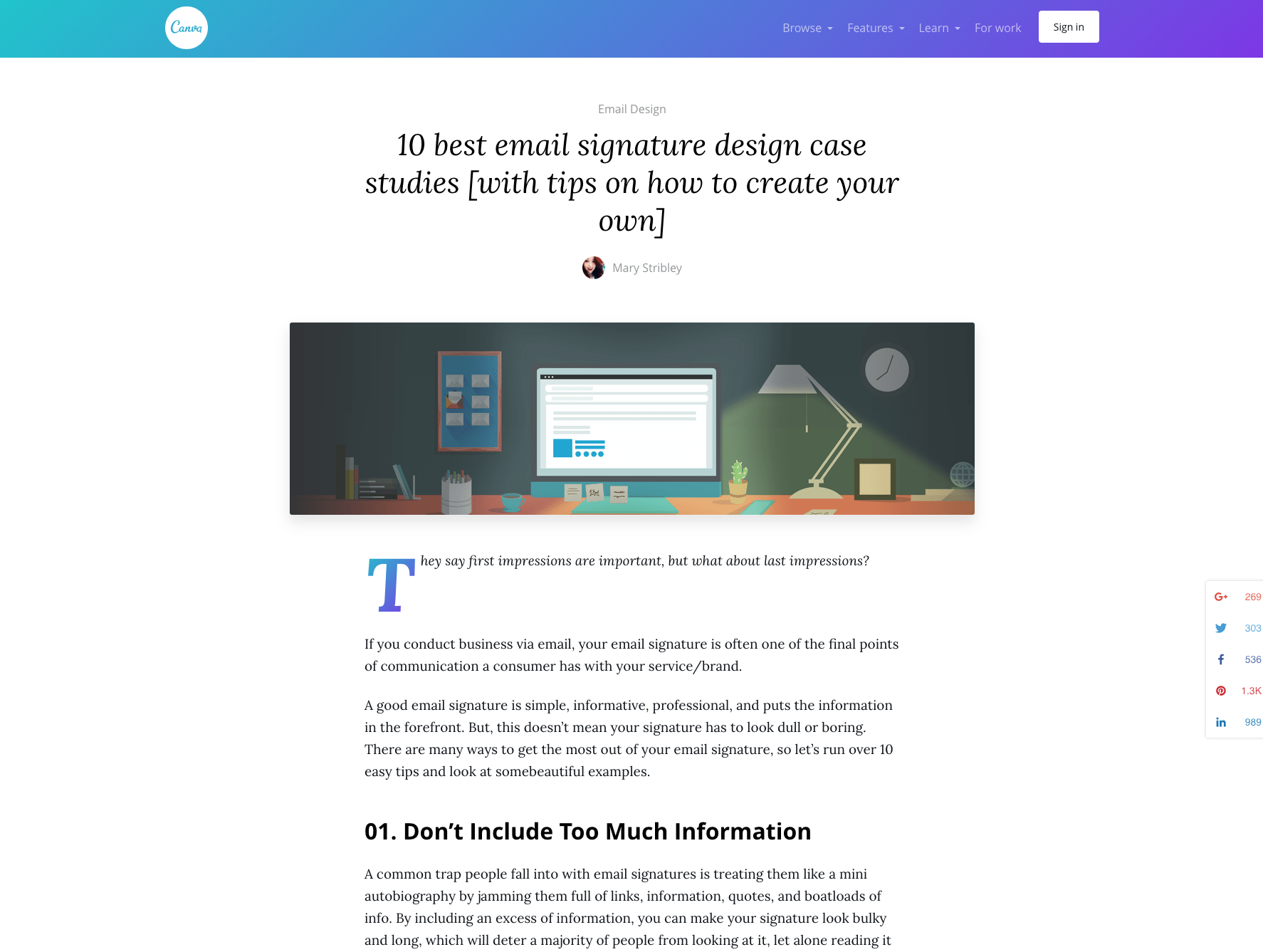 Canva Blog Post on Email Signatures