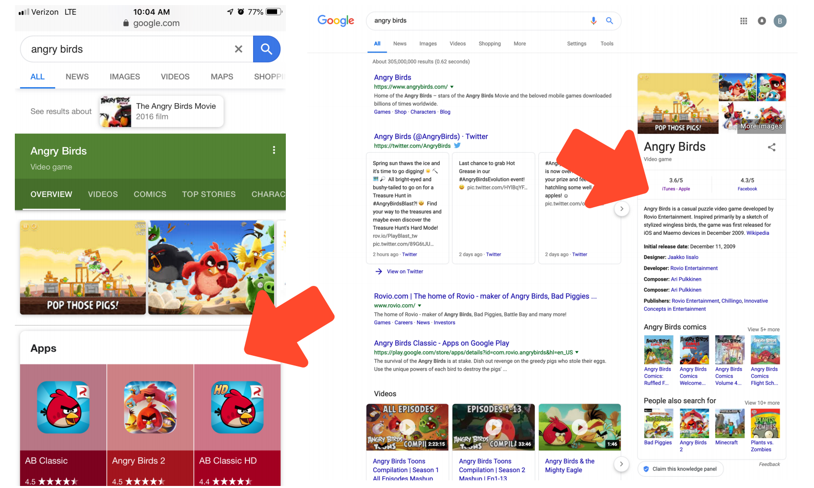 angry birds google app indexing