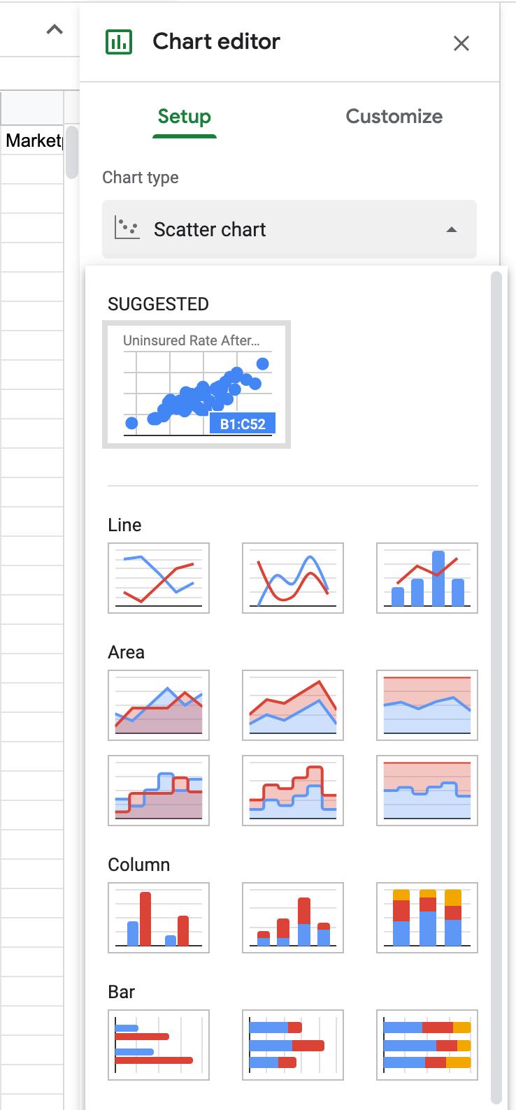 chart editor google sheets