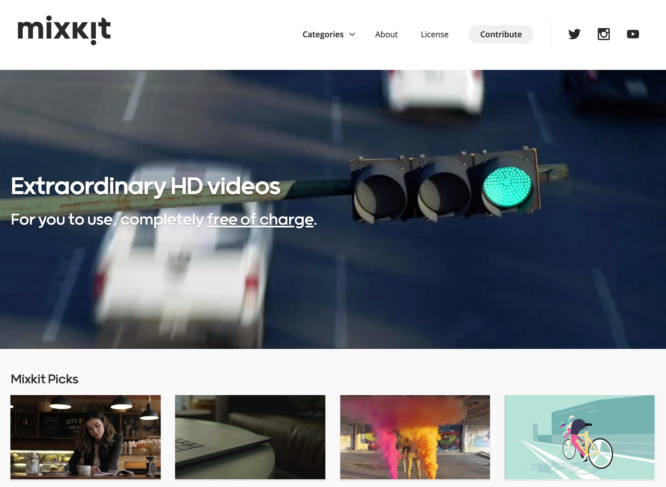mixkit homepage