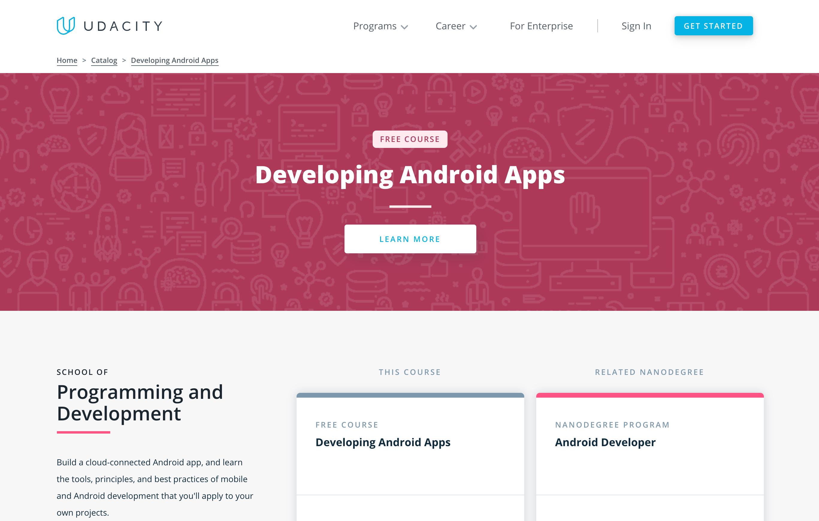 free online Android app developer course